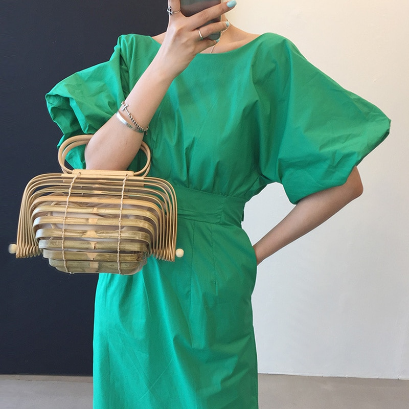 Dress Korean Chic Candy Color White Round neck dress woman Care Open Back Lace Up Waist Lantern Slee