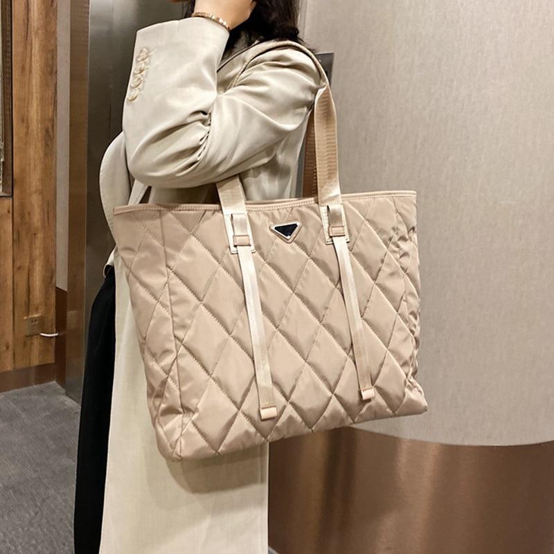 Brand Designer Women's Tote Bags 2020 Autumn Winter New Lady Shoulder Bag High Quality Nylon Handbags Large Capacity Shopper Bag