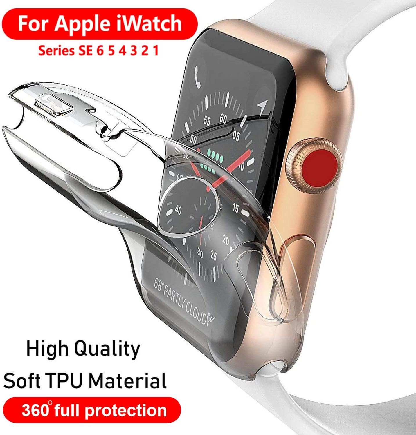 slim watch 360 cover for apple watch case 5 4 42mm 38mm soft clear tpu screen protector for iwatch 3 2 1 44mm 40mm accessories Watch Cover Case For Apple Watch SE/6/5/4 40MM 44MM Soft 360 Slim Clear TPU Screen Protector For iWatch Series 3/2/1 38MM 42MM