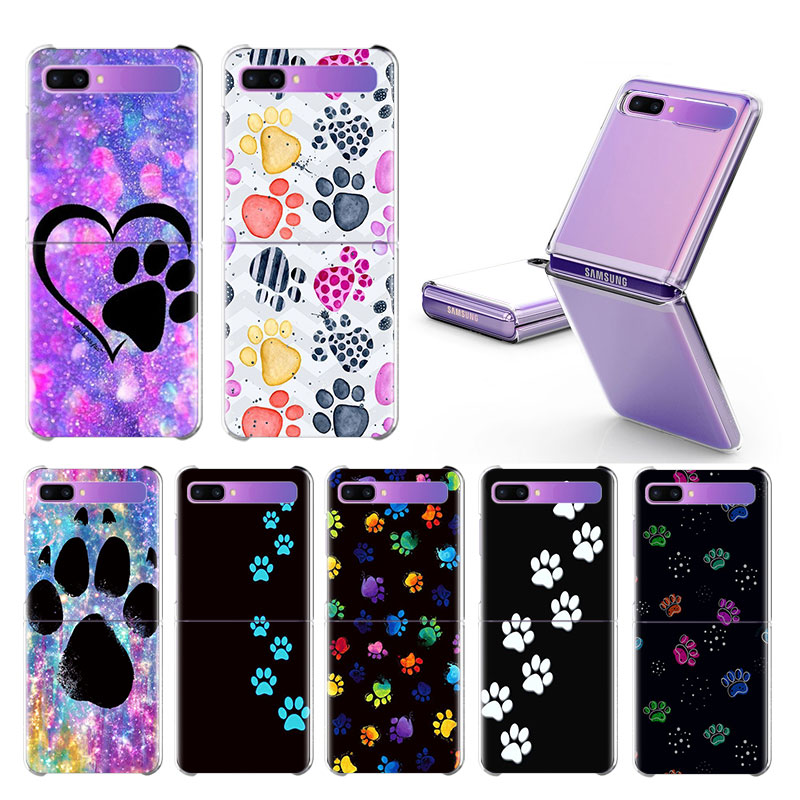 Funda pata de perro para Samsung Galaxy Z Flip duro claro Plistic teléfono Coque Split plegable cubierta de moda Shell