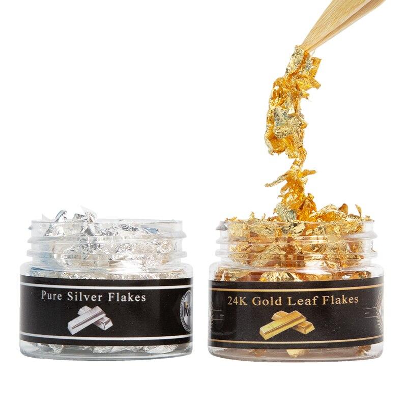 Золотая фольга 24K, фотолисты для украшения тортов, стейков, настоящая Золотая бумага, золотые хлопья, приготовление пищи, десерт, золотые лис...