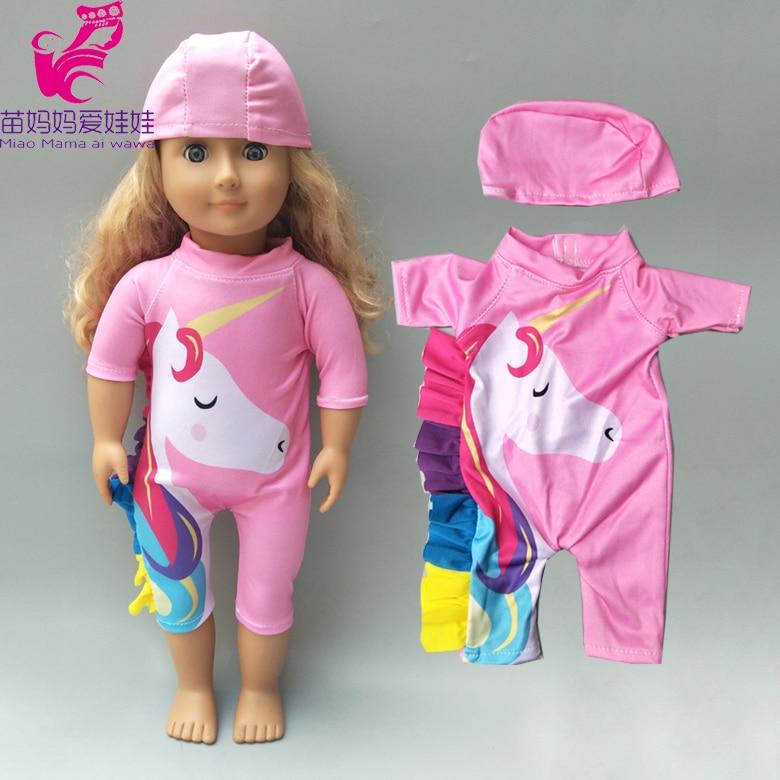 Bébé poupée licorne maillot de bain poupée vêtements pour 43cm né bébé poupée vêtements et 18 pouces vêtements de poupée américaine