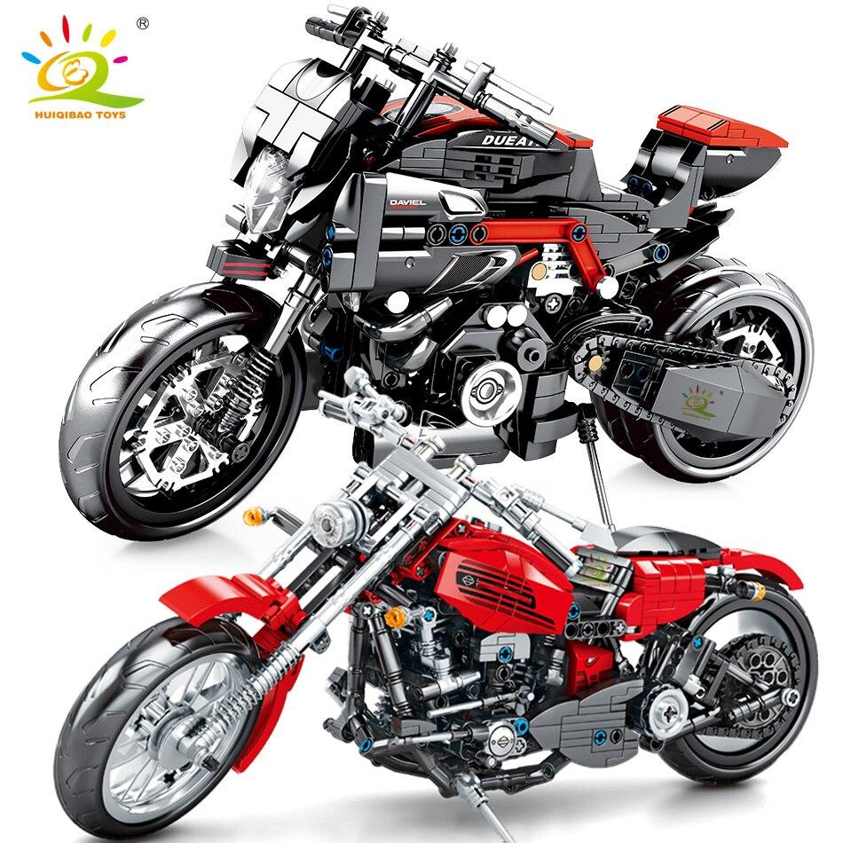 HUIQIBAO DIY modelo de motocicleta técnica bloques de construcción ciudad velocidad vehículo ladrillos educativos niños juguetes niño regalo
