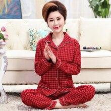 بيجامة نوم نسائية جديدة منتصف العمر كبار السن من قطعتين طقم ملابس نوم مطبوعة بأكمام طويلة بيجاما بدلة بيجاما كبيرة الحجم 3XL
