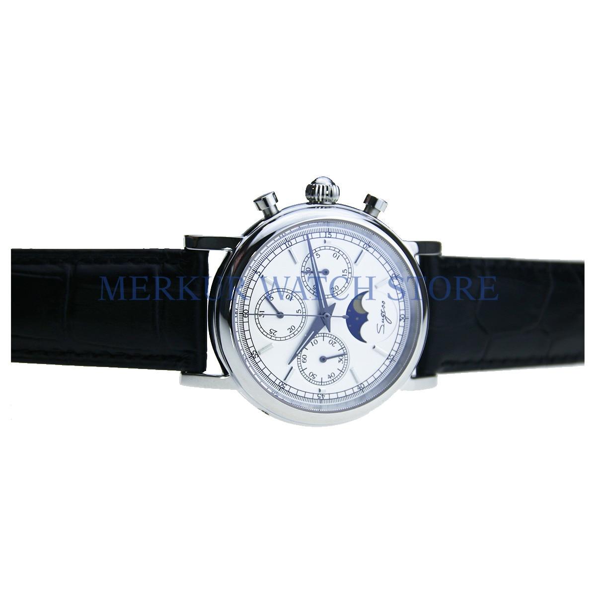Sugess Luminour TianJin movimiento Moonphase calendario mecánico para hombre reloj cronógrafo de lujo
