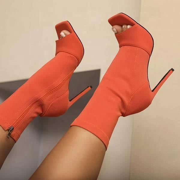 Sexy Ankle Boots Black Casual Open Peep Toe High Heels Zipper Fashion Shoes For Women Cut Out High H