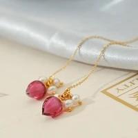 green purple natural freshwater pearl long dangle earrings for woman wedding pink glass flower korean charm fashion jewelry
