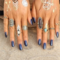 Lovbeafas moda 8 pçs conjuntos de anéis para as mulheres boho vintage gravado tibetano prata feminino praia dedo anel turco
