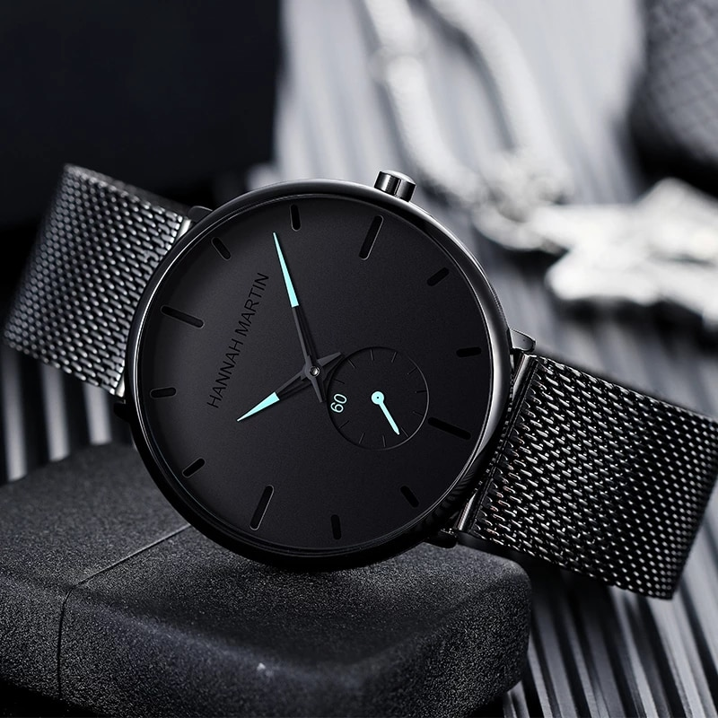 Dropship Fashion Simple Design Waterproof Stainless Steel Mesh Small Dial Men Watches Top Brand luxury Quartz relogio masculino enlarge