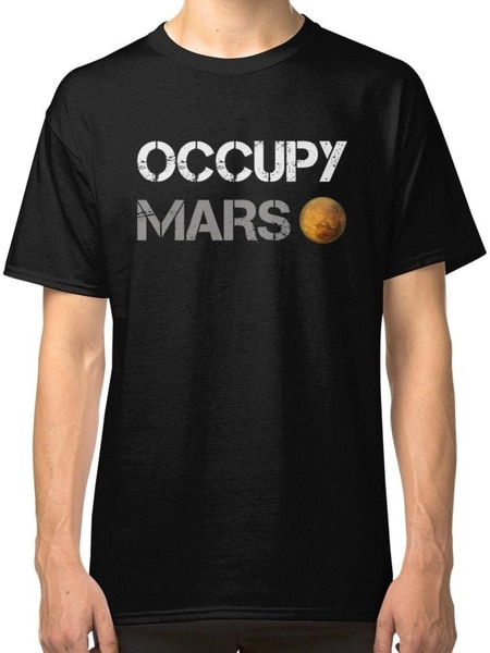 Occupy Mars Black T-Shirt Mens Round Neck Tees Casual Tops Fashion Short Sleeves Clothing black spell color round neck long sleeves t shirt