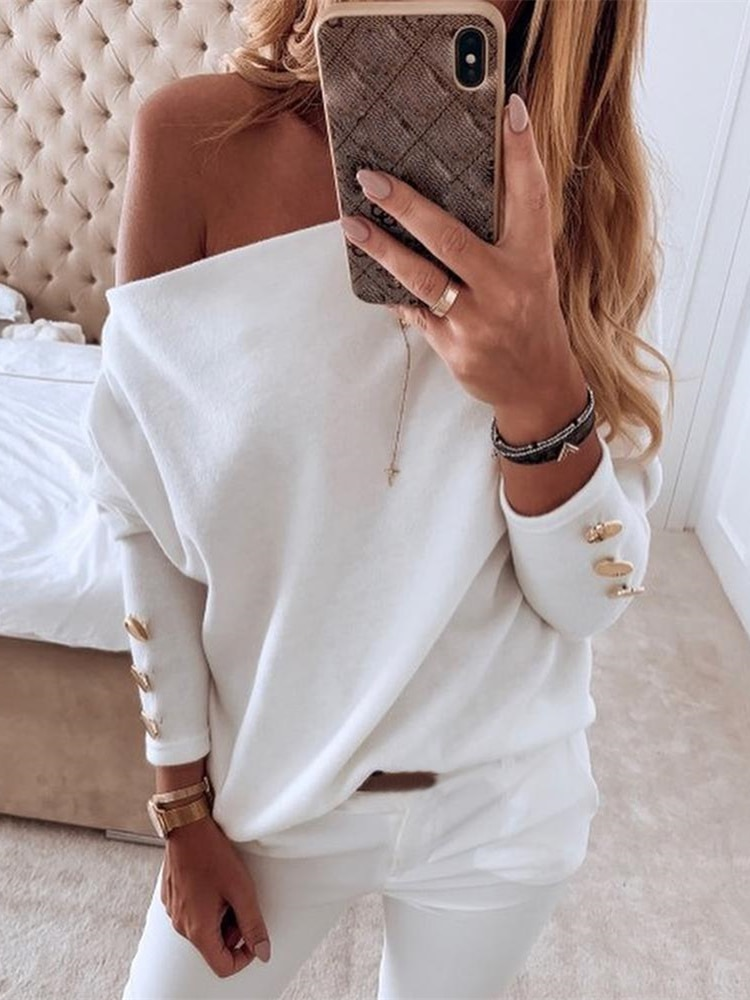 2020 Autumn Women Elegant Basic Casual Top Female Leisure OL Long Sleeve Brief Shirt Solid Off Shoulder Buttoned Blouse