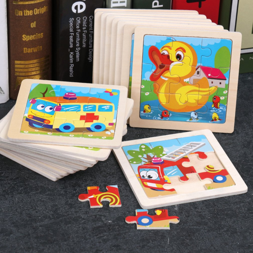 Wooden Childrens Puzzle 9 Pieces Of Woody Forest Animal Shape Story Puzzle Children Adults Vehicle Puzzles Educational Games