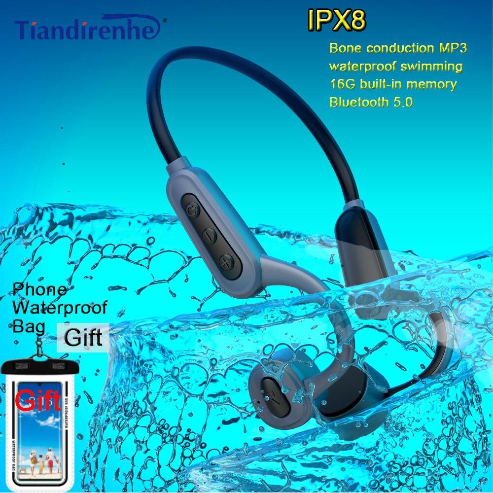 مقاوم للماء MP3 IPX8 الغوص السباحة مشغل MP3 16 جيجابايت العظام التوصيل سماعة لاسلكية تعمل بالبلوتوث سماعة تصفح و الهاتف مقاوم للماء حقيبة