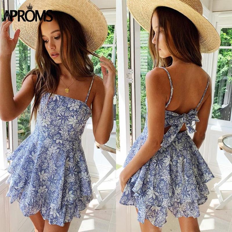 Aproms Elegant Backless Bow Tie Summer Chiffon Dress Women Blue Floral Print Short Dresses Cool Girls Beach Sundresses Vestidos