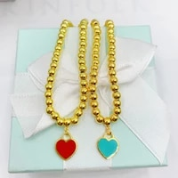 original 1 1 925 sterling silver heart 4mm bead bracelet women logo classics high end jewelry birthday holiday gift