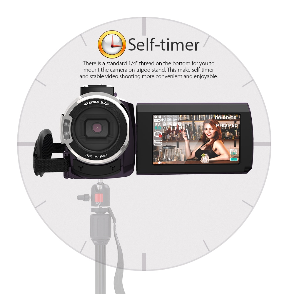 Andoer 4K 1080P 48MP WiFi Digital Video Camera Camcorder Recorder With 3inch Capacitive Touchscreen IR Infrared Sight 16X Zoom