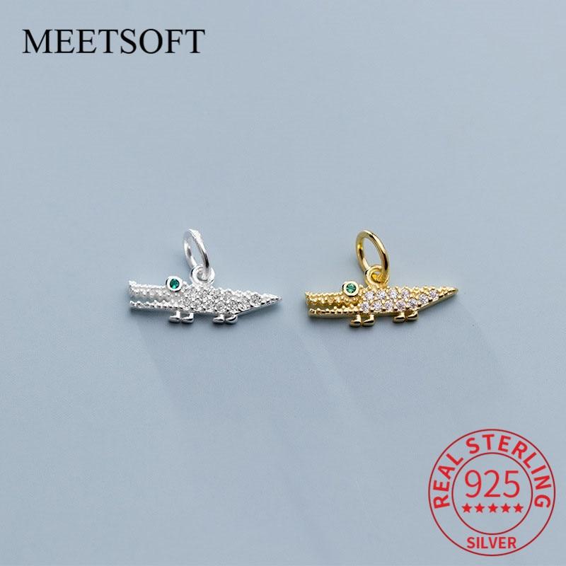 meetsoft-подлинное-серебро-925-пробы-крокодил-Циркон-Висячие-шикарные-подвески-diy-ювелирные-ожерелья-ручной-работы-deocration-аксессуары