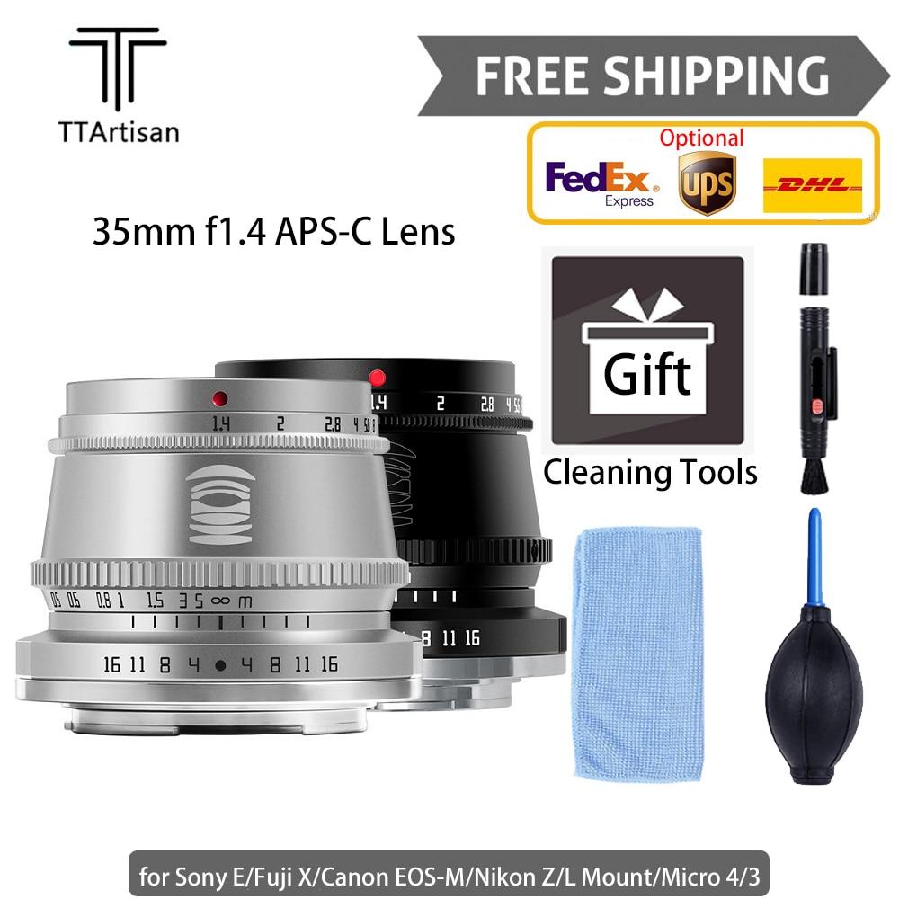 TTartisan 35mm f1.4 APS-C Camera Lens Photography Lens for L Mount Nikon Z Canon EOS-M Sony E Fujifilm X Micro 4/3 Free Shipping