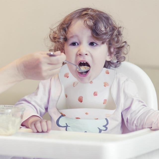 New Silicone Waterproof Baby Bibs Burp Cloths Toddler Kids Toddler Adjustable Wipeable Feeding Apron Saliva Bandana 5 Colors 6