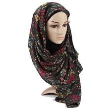 2020 Print Long Wrap Warm Stole Women Pashmina Poncho Muslim Hijab Snood Autumn Winter Retro Painting Floral Viscose Shawl Scarf
