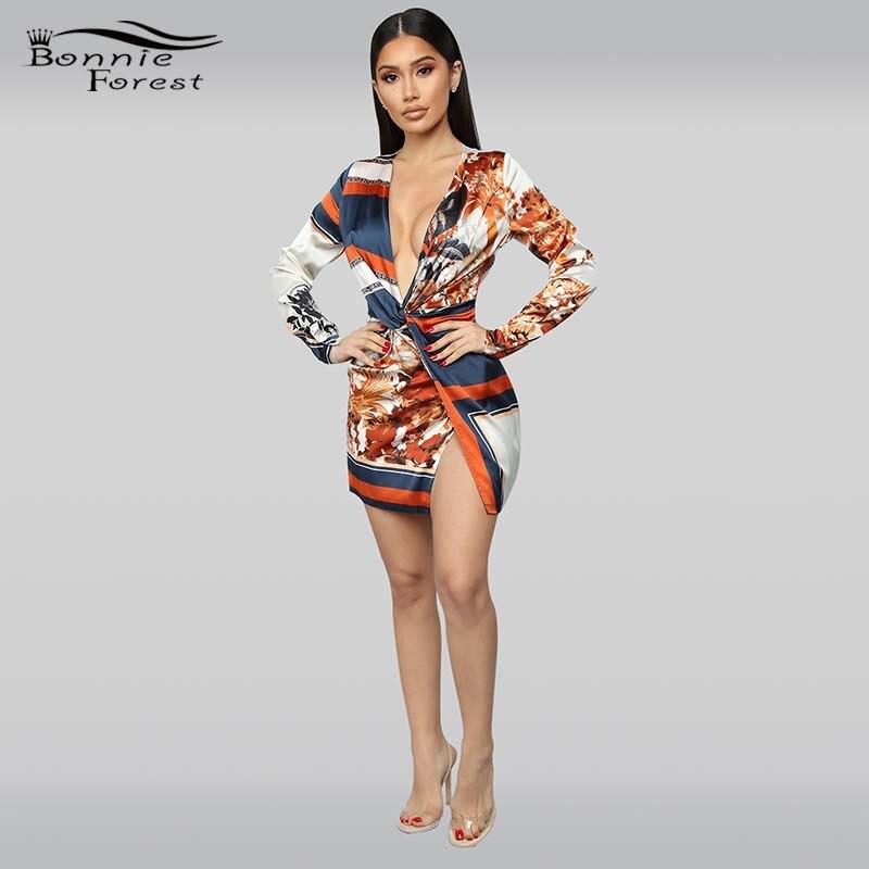 Bosque Bonnie Vintage de manga larga impreso Twist Front Mini vestido de moda para mujer nudo envoltura satén seda Fiesta Club Vestidos cortos