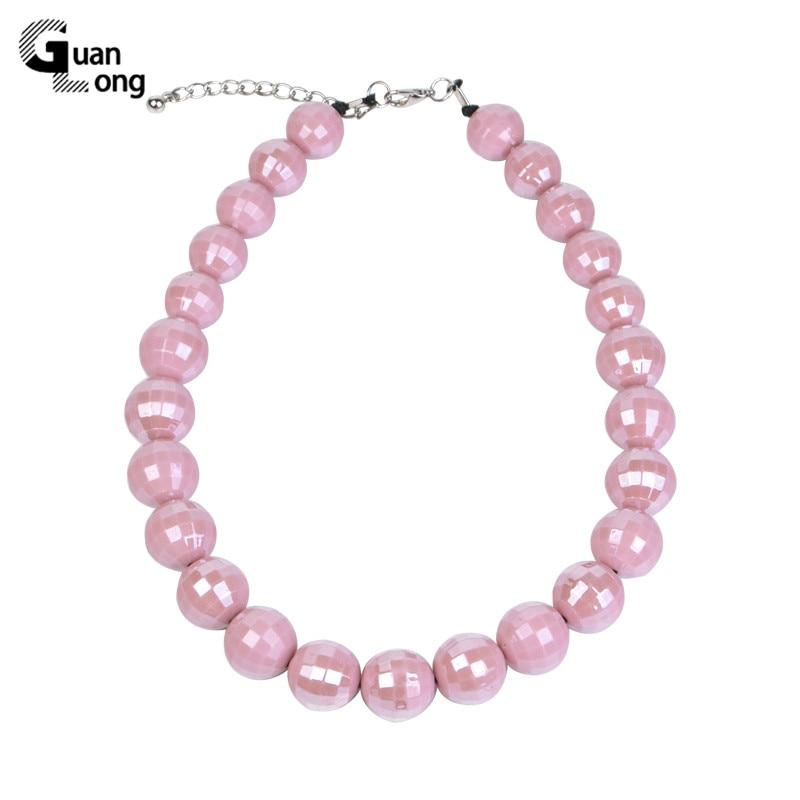 GuanLong moda larga/personalizado dijes para collar Rosa Vintage/collar de perlas mujer diseñador acrílico joya de collar de resina Mujer
