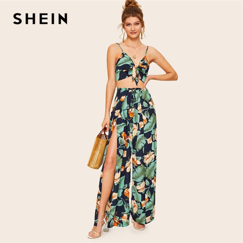 SHEIN Boho Knot Front Cami Crop Top and Wrap Split Wide Leg Pants 2 Piece Set Women Summer Tropical Print Vacation Two Piece Set