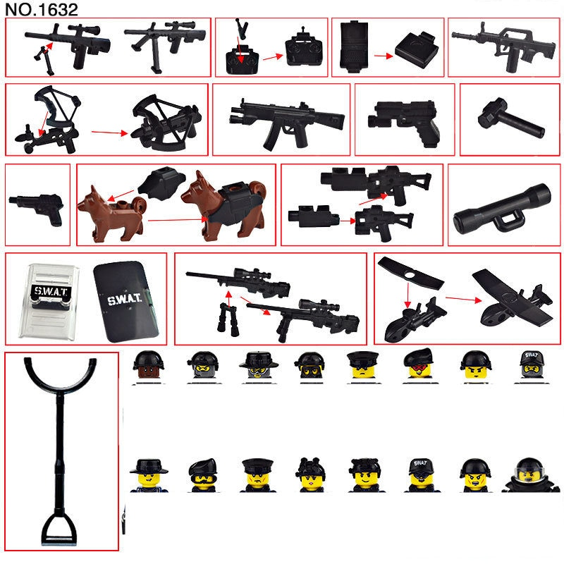 war accessories military cannon scenes guns weapons swat sandbag for land force moc building blocks toys for kid gifts legoingly Mini Military Special Forces Soldiers Bricks Figures SWAT Guns Weapons Compatible Armed Building Blocks Kids Toys