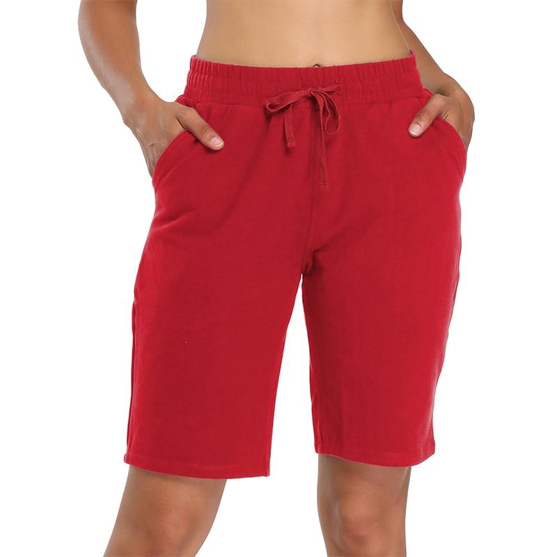 Хлопковые шорты-бермуды для женщин, спортивные штаны 10 дюймов, с карманами, для спортзала, йоги, атлетики, бега, длинные спортивные шорты