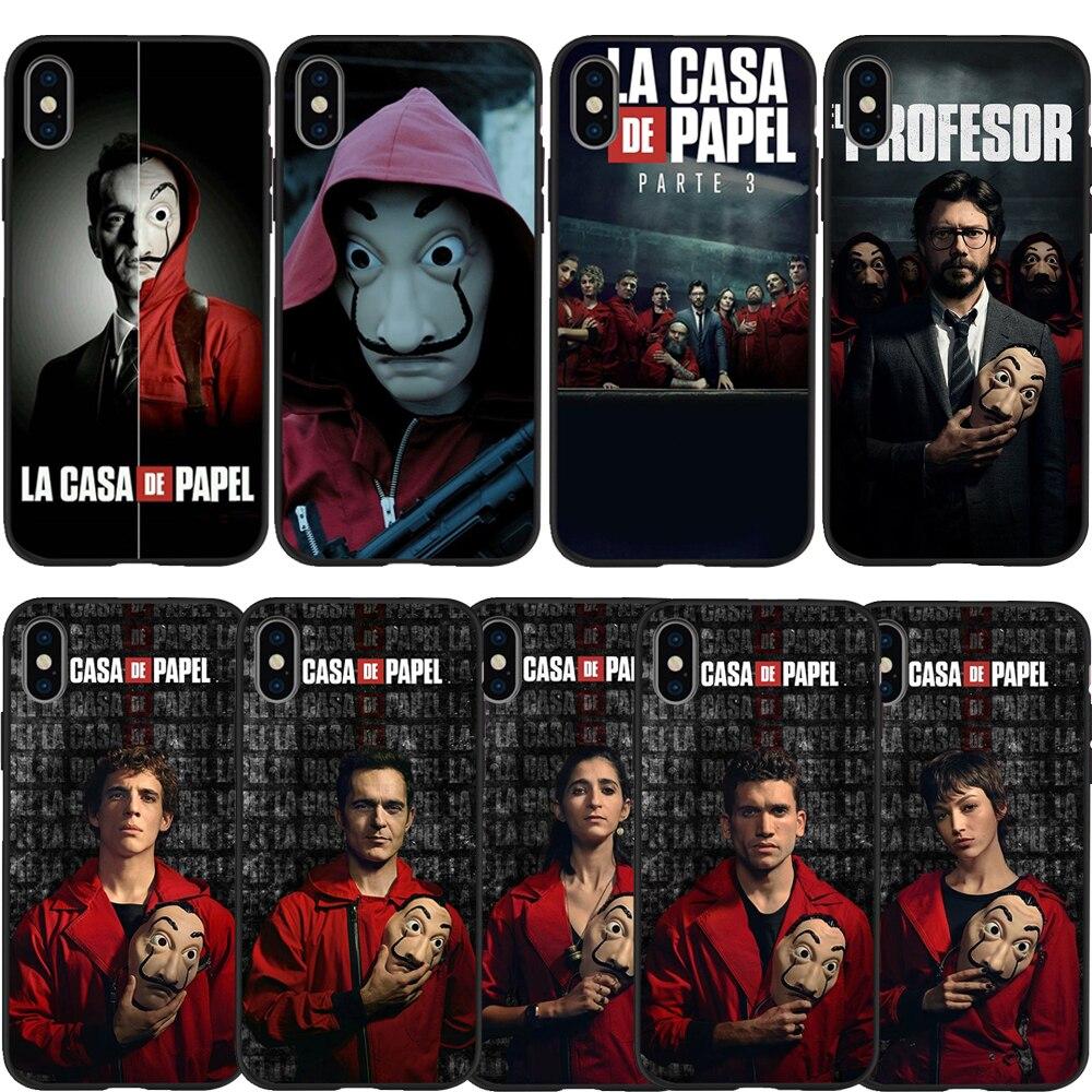 phone case For iPhone 6 6S 7 8 Plus X XS Max XR 11 Pro 5 5S SE Spain TV La Casa de papel Black Case Paper House Black TPU Coque