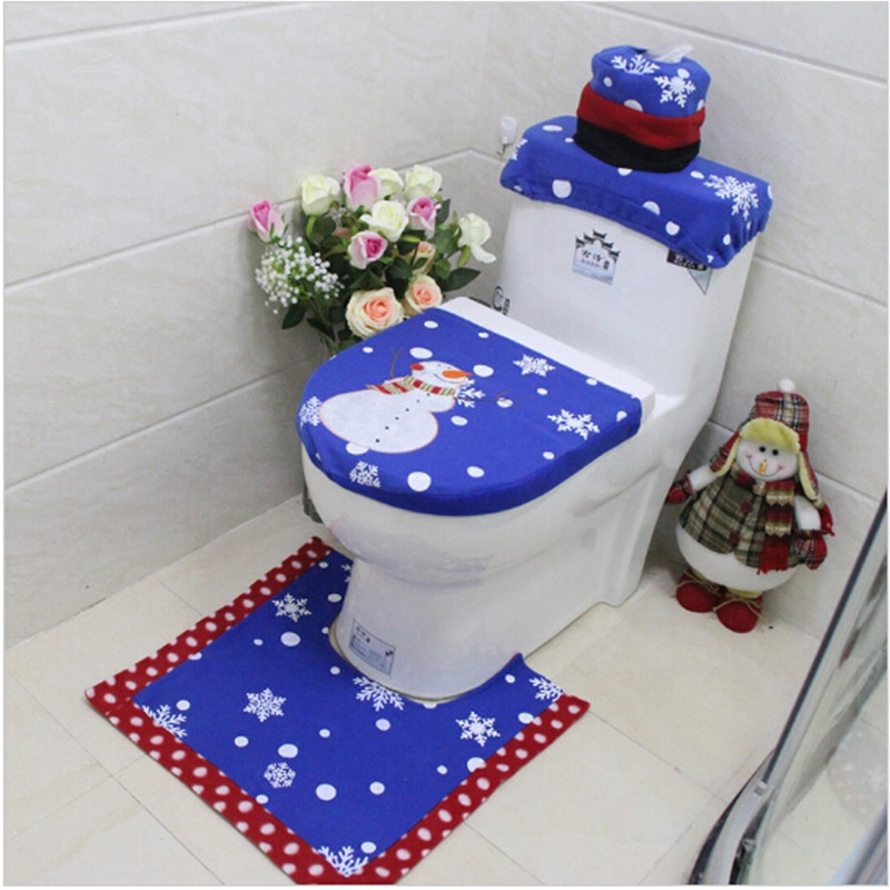 Navidad inodoro para baño cubierta de asiento de alfombra 3 unids/set azul...