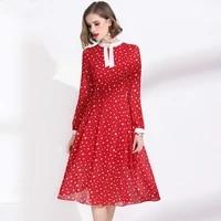polka dot dress 2021 spring women wear red chiffon classy round neck long sleeves slim a line elegant dress over the knees m xxl