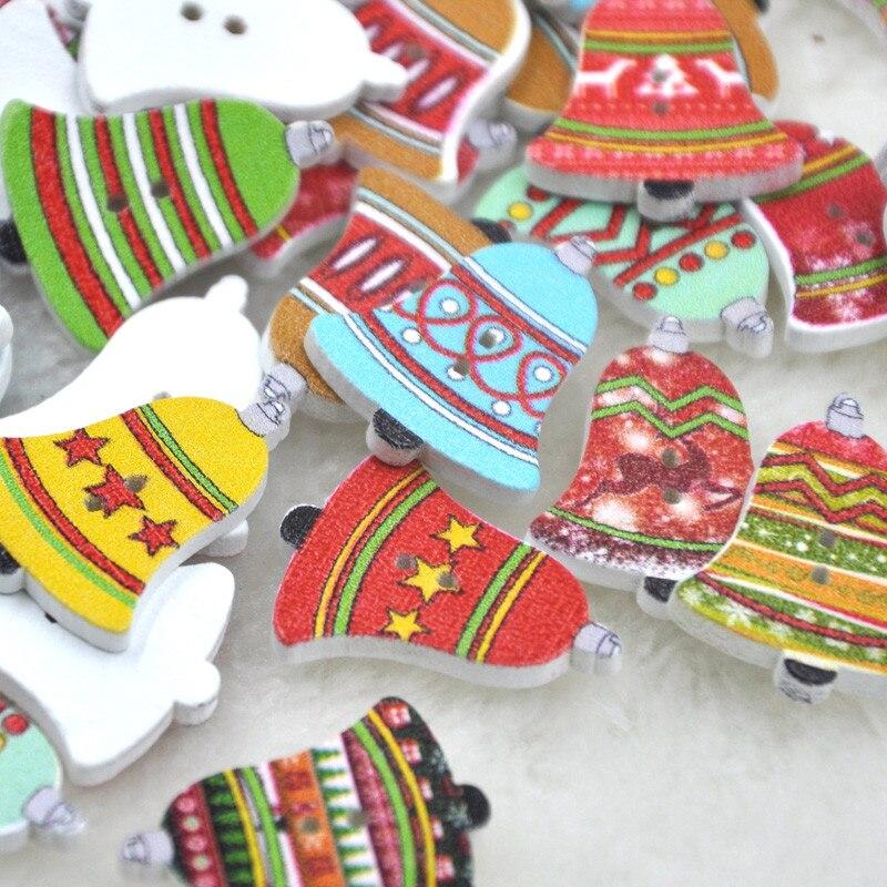 10/50/100 stücke Frohe Weihnachten Glocke Holz Tasten Nähen Mischung Verlost WB241