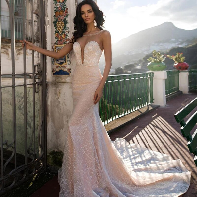 Wedding dress Mermaid wedding tube top sleeveless embroidery applique wedding gown luxury retro plus size