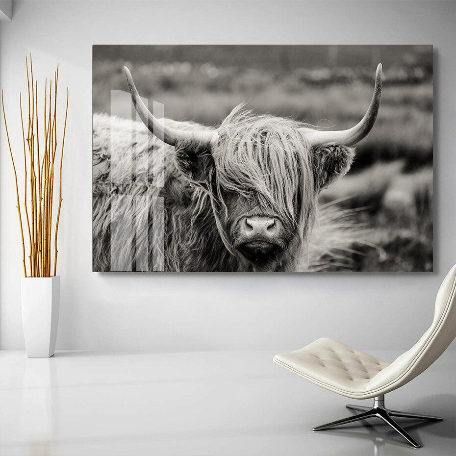 Póster de animales de vaca escocesa Highland Catt, Yak, arte de pared, pinturas en lienzo, impresiones, imágenes en lienzo para la decoración del hogar de la sala de estar