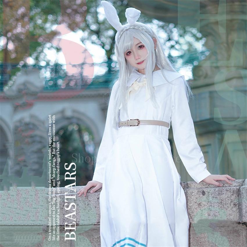 5Pcs Anime Beastars Haru Cosplay Costume Women Dress Girls Skirt School Uniform White Rabbit Girl Bunny Ears with Wig Outfit Set