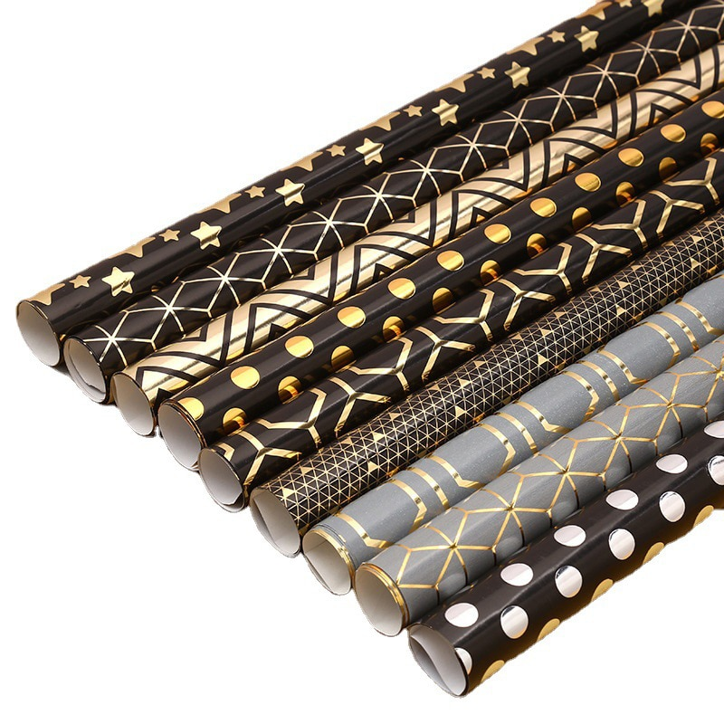 50*70Gift Wrapping Paper Geometry Series Bronzing Wrapping Paper Thickening Coated Paper Holiday Gift Box Packaging Tissue Paper