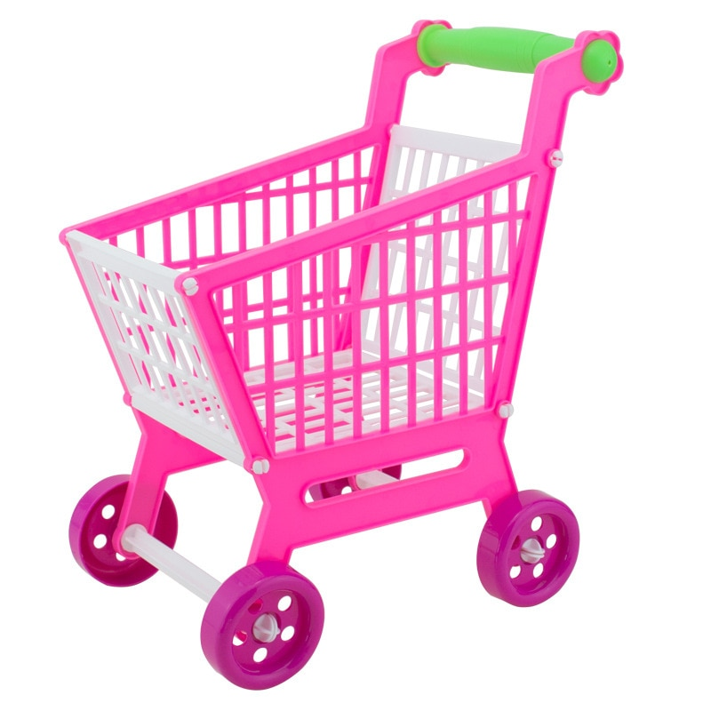Carrito de compras para niños de 30 cm, carrito de juguete para casa de supermercado, carrito de compras de simulación, mini cochecito para niños, mano para niños juguetes