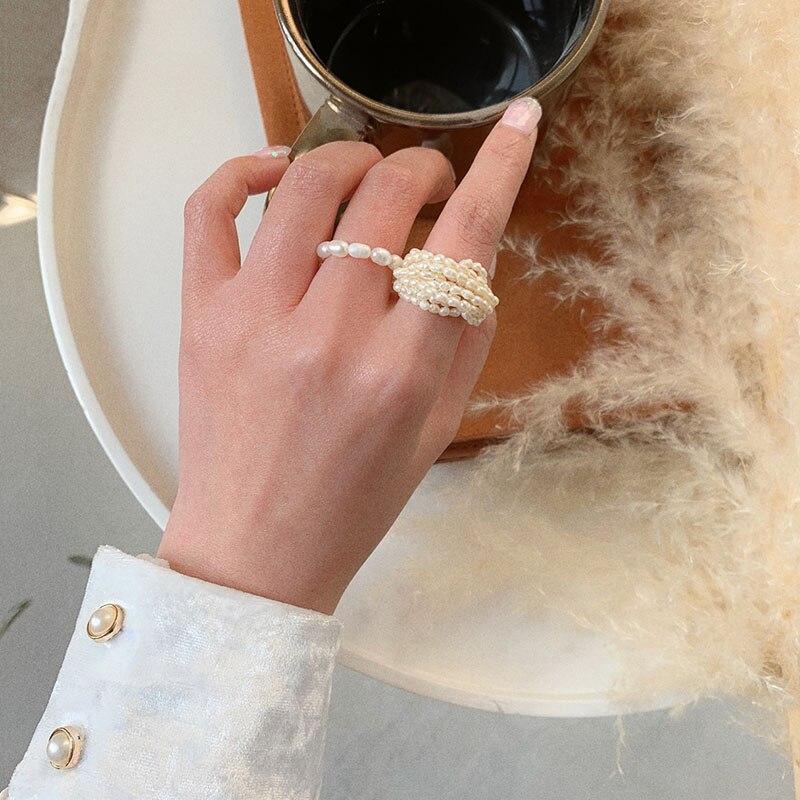 AOMU francés raro Retro pequeño entrelazado perla de múltiples capas anillo de dedo para las mujeres accesorios niñas boda