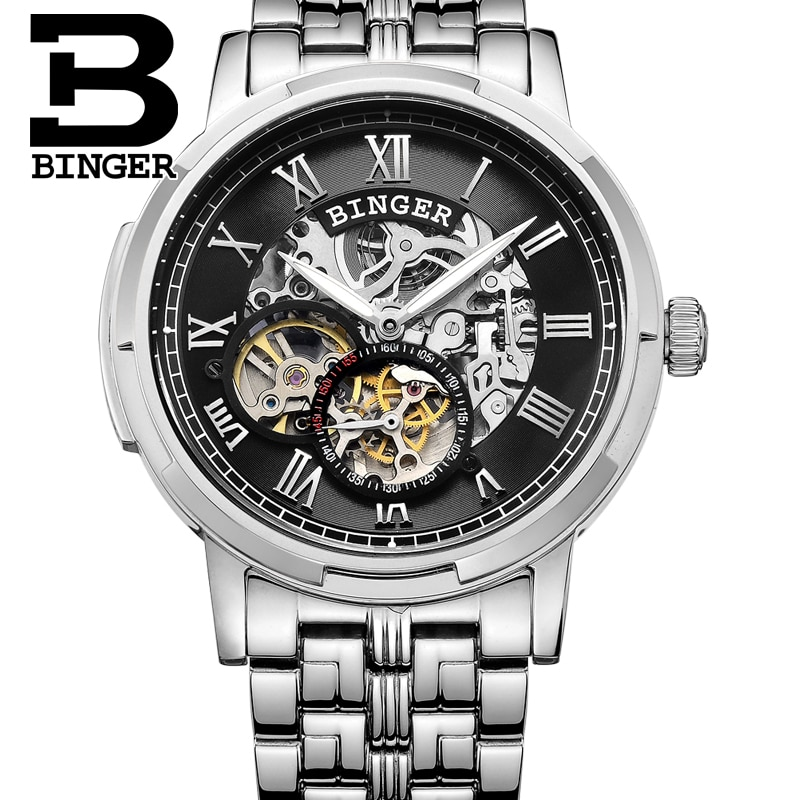 Mechanical Luxury Skeleton Watches BINGER Automatic Watch relogio masculino Watch Mens Stainless Steel  relojes hombre 2019