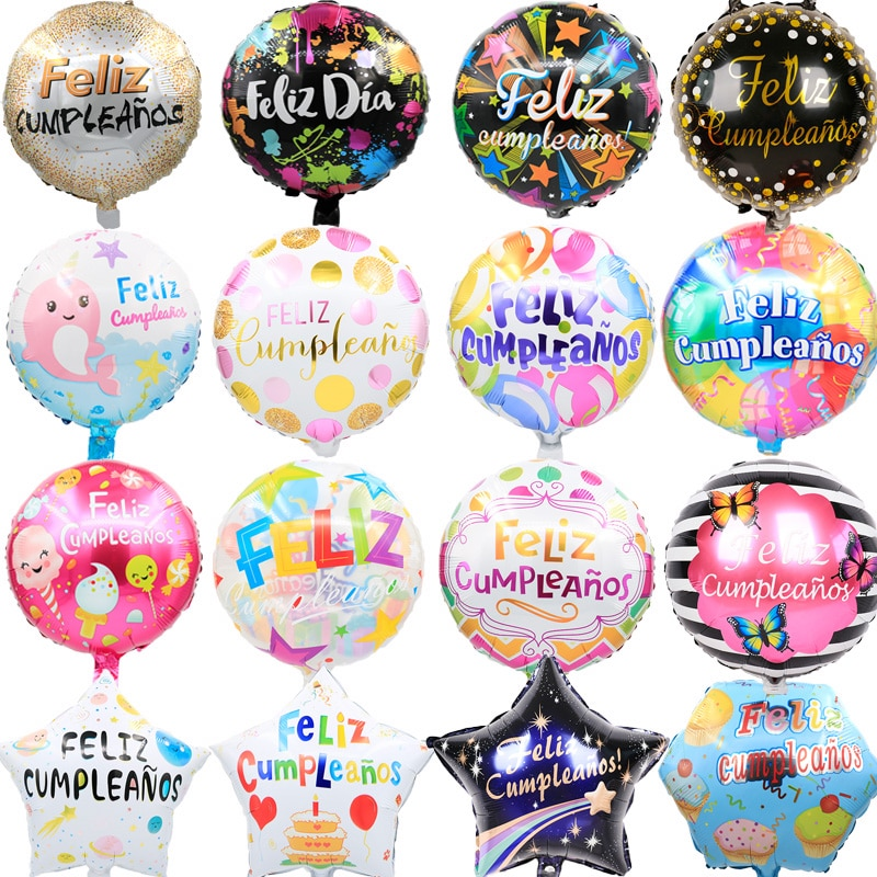 5pcs 18inch Spanish Foil Balloons For Mother's day Birthday Party Supplies Feliz Cumpleanos Baby Sho