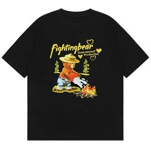 LACIBLE Hip Hop Letter Fighting Bear Print T-Shirt Men Cotton Summer Streetwear Harajuku Casual Short Sleeve Tshirt Black Unisex