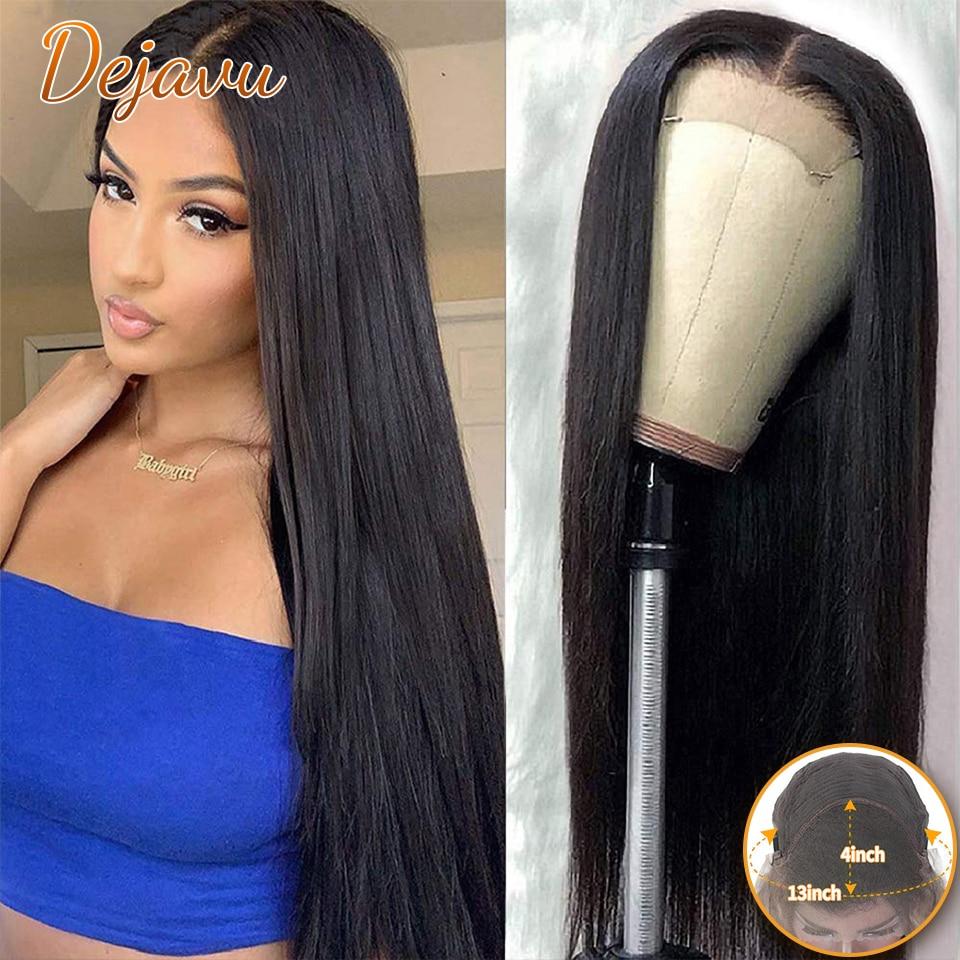 Dejavu Straight Hair Human Hair Wigs 4X4 Lace Closure Wigs Straight Brazilian 13X4 Lace Front Human Hair Wigs For Woman
