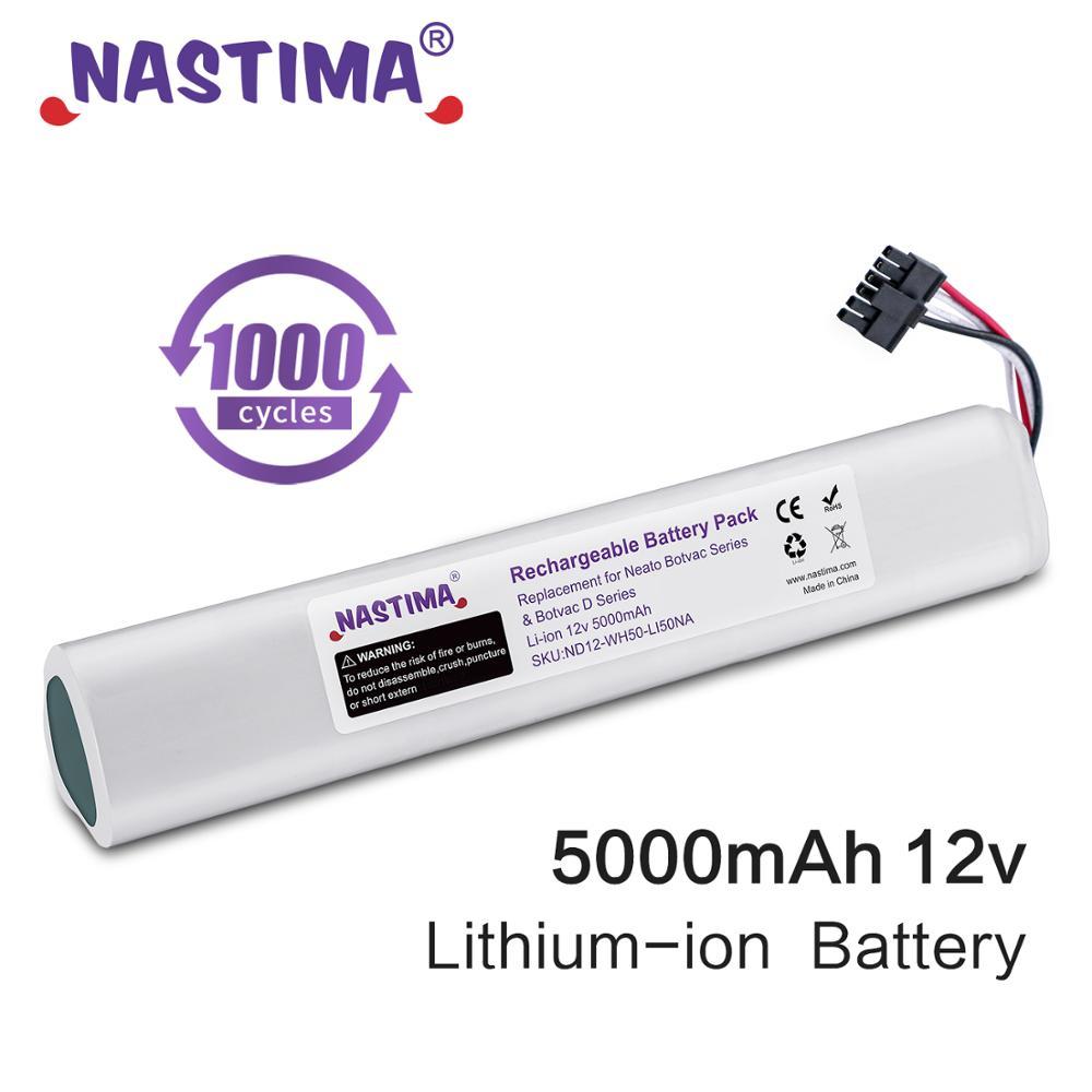 Nastima-بطارية ليثيوم أيون بديلة ، 5000 مللي أمبير ، 12 فولت ، لسلسلة neato Botvac D ، للمكنسة الكهربائية Neato BotVac 70e 75 80 85 D75 D85