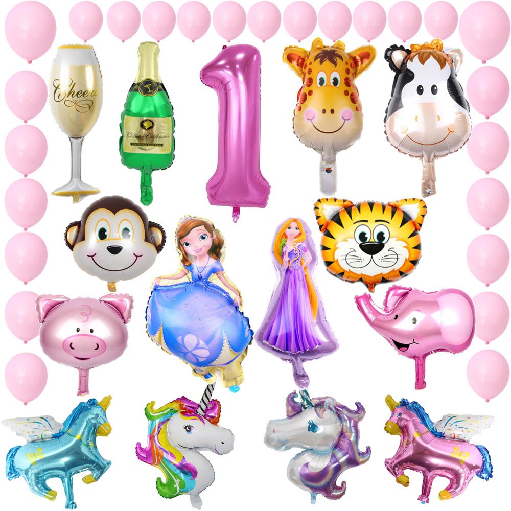 Mini globos de animales minnie mickey unicornio fiesta de navidad feliz cumpleaños para decoración para fiesta de bienvenida de bebé globo