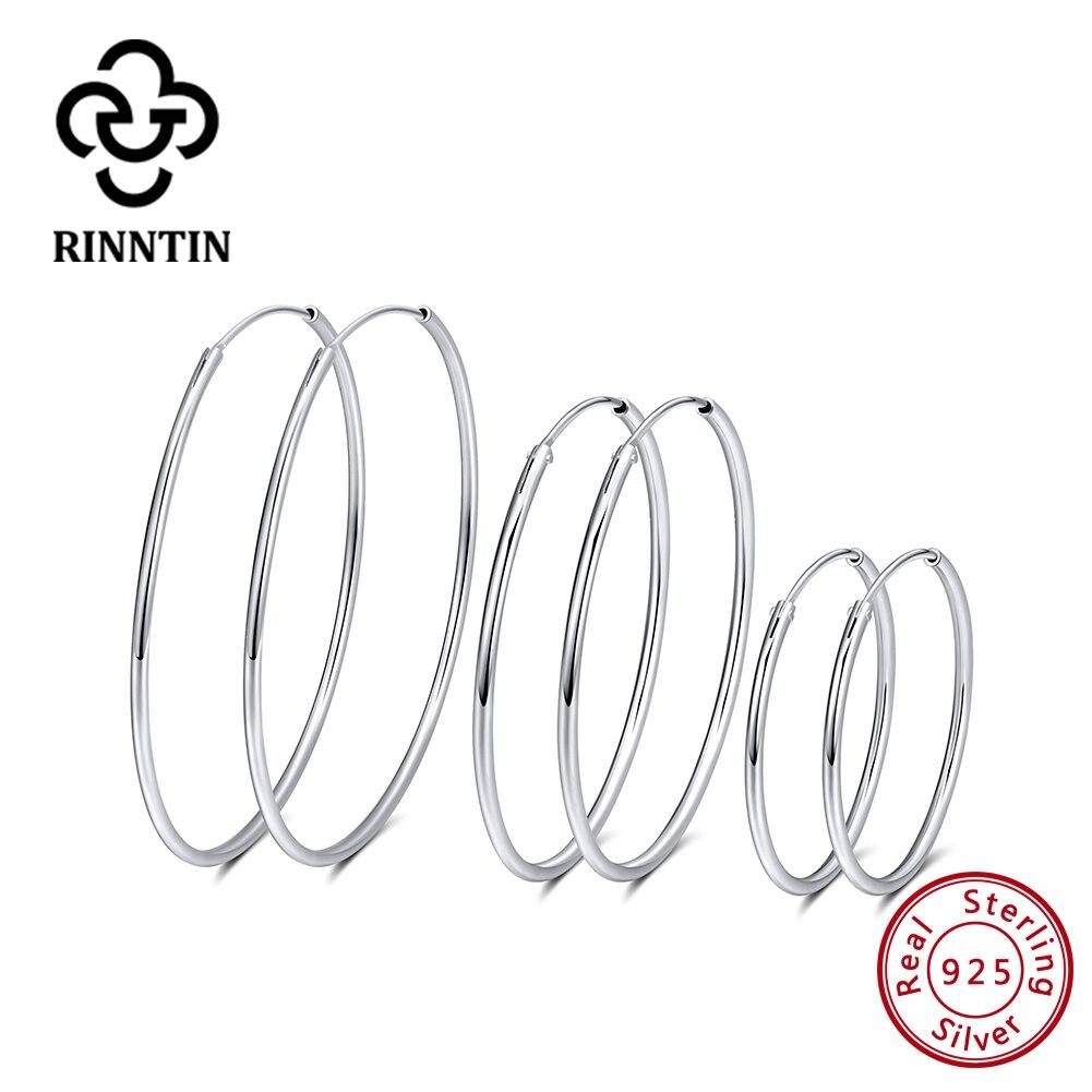Rinntin genuino Plata de Ley 925 pendientes de aro grandes para la joyería de las mujeres regalo exquisito TSE146