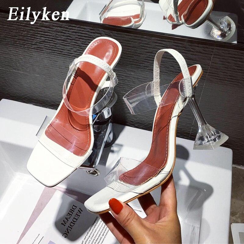 Sandalias de goma de PVC blanco y amarillo de Eilyken, Sandalias de tacón transparente con punta abierta de cristal, zapatillas de tacón transparente de 9CM