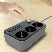 Удлинитель с 3 розетками и 6 USB портами, 1,6/5 футов