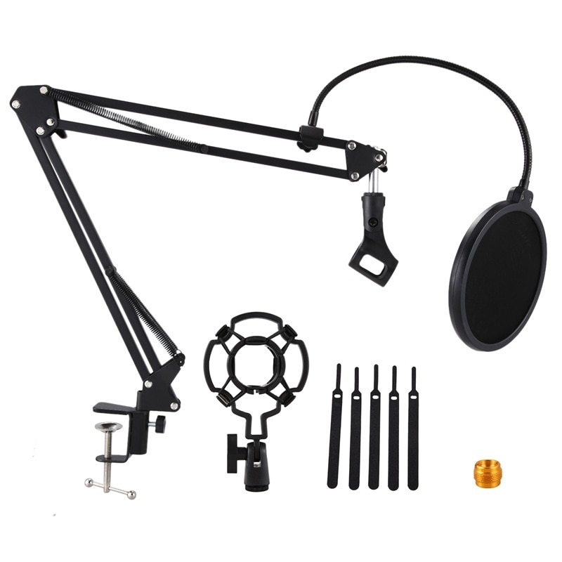 Heavy Duty Microphone Stand Extendable Suspension Boom Scissor Arm Stand with Shock Mount Dual Layered Mic Pop Filter enlarge