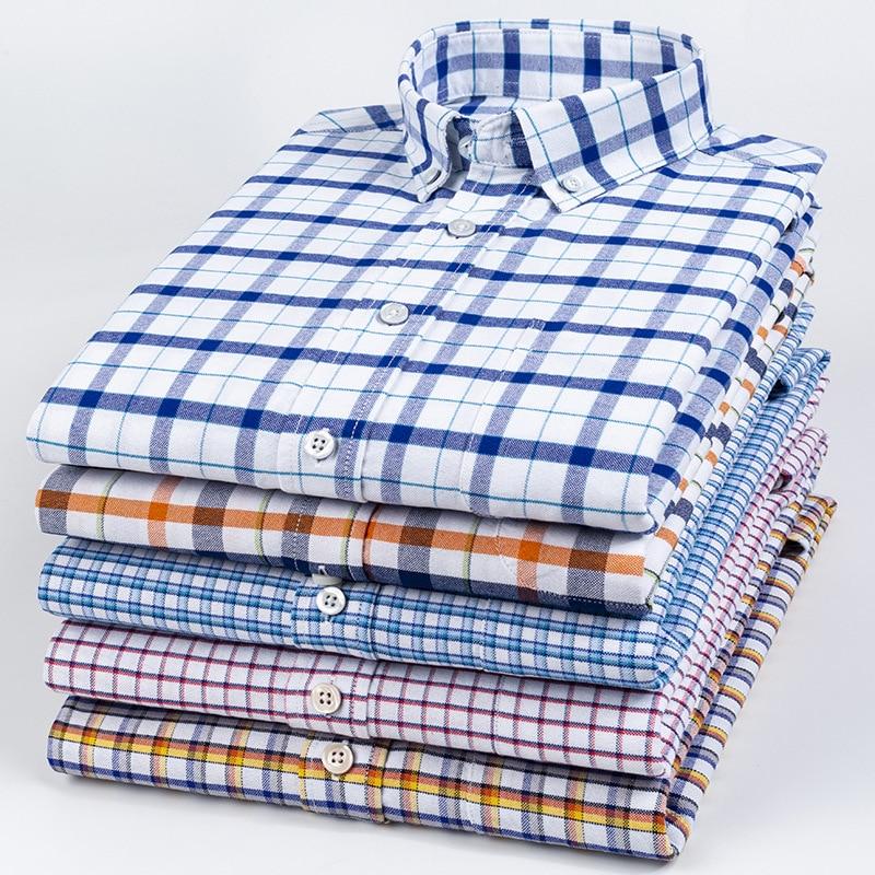 Новый 100% хлопок Туфли-оксфорды мужские рубашки в клеточку для детей футболки с длинным рукавом и принтом «человек повседневные корейские у...